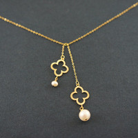 Gold clover dangling necklace with pearl, gift, lucky, wedding, valentine's day