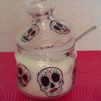 Hand painted sugar bowl skulls mexican Rockabilly