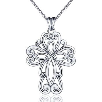 Celtic Knot Cross  Sterling Silver Pendant Necklace