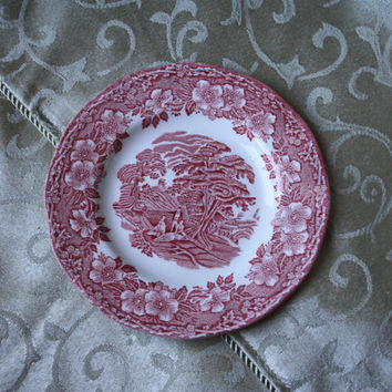 1960s- 1980s Vintage English Woodland by Enoch Wedgwood Saucer Plates Red Transferware