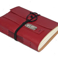 Red Vegan Faux Leather Journal with Bookmark