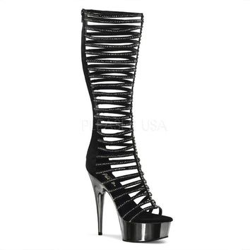 Pleaser Female 6 Inch Heel, 1 3/4 Inch Platform Knee High Strappy Sandal DEL600-44