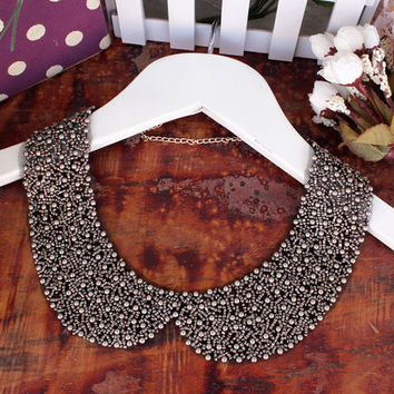 Free shipping new fashion black beading fake false collar for women detachable shirt collars appearl accessories