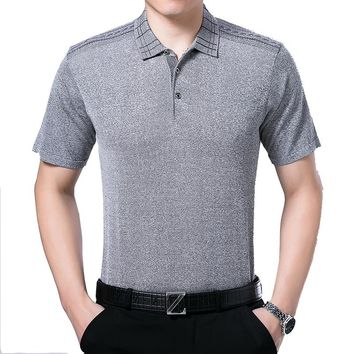 Middle-aged man 2017 Polo Shirt Brand High quality silk material Anti wrinkle Breathable Polos mens fashion polo shirts plussize