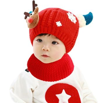 Free Shipping Cute Baby Winter Knitted Woolen Hat Toddler Baby Velvet Wool Hat Hooded Scarf Earflap Knit Cap
