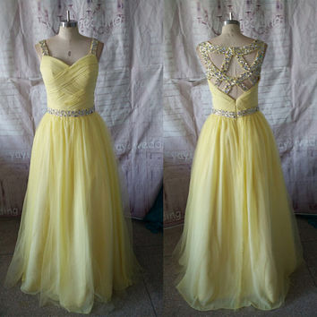 Pale Yellow Chiffon Tulle Skkirt Spaghetti Straps Floor Length Sexy Backlesses Prom Dresses Formal Evening Dress Party Dress ET165