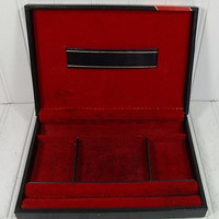 Vintage Black Leatherette Jewelry Box with Red & Gold Trim - Made in Sweden Design by Philippo - Mens Valet Chest - Ready for Refurbishing