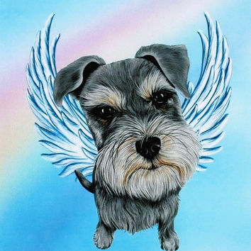 Schnauzer Angel - Schnauzer Art - Dog Angel - Miniature Schnauzers - Pet Memorial - Guardian Angels - Rainbow Bridge - Weeze Mace - 8x10