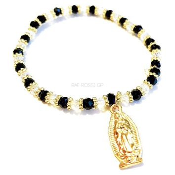 Beautiful Stretchy Black and Clear Czech Beads Virgen Guadalupe Bracelet.