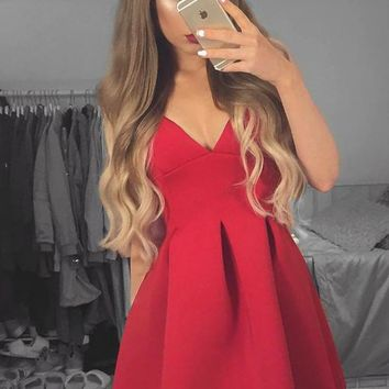 Red Satin Deep V-Neck Homecoming Dresses,Short Homecoming Dress