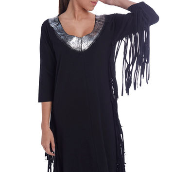 Fringed Sides Dress with Silver Contrast Collar