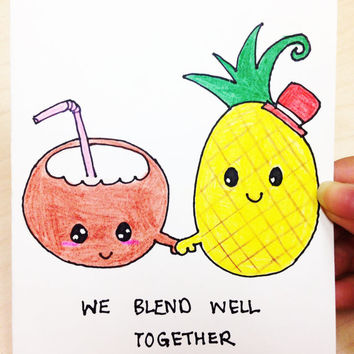 Cute Valentine Card, funny valentine card, card for boyfriend, anniversary card for girlfriend, pina colada, we blend well together