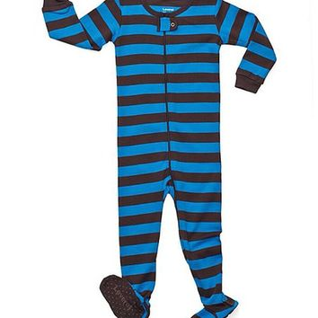 Chocolate & Blue Stripe Sleeper Footie - Infant, Toddler & Boys