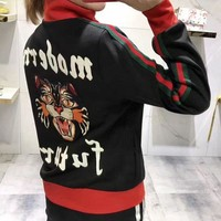 """Gucci"" Women Fashion Personality Letter Multicolor Stripe Angel Cat Embroidery Long Sleeve Zip Cardigan Jacket Coat H-AGG-CZDL"