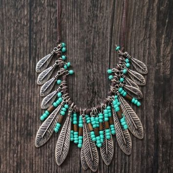 Retro style turquoise leaves tassel necklace