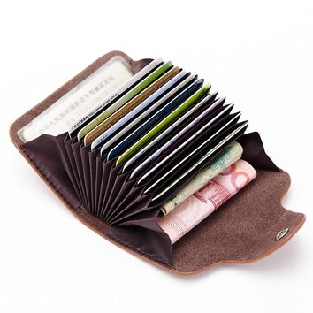 Genuine Leather Women Men ID Card Holder Card Wallet Credit Card Holder Business Card Holder Organizer Pilllow Purse DC168