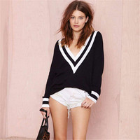 Women Sexy Loose Sweater Jumper Long Sleeve Knitted Pullover Stripe Edge Deep V Neckline Black White Knit