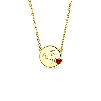Kiss Face Emoji Pendant Necklace Circle Silver Gold Plated 16 to