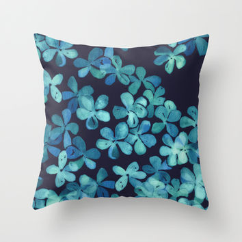 Hand Painted Floral Pattern in Teal & Navy Blue Throw Pillow by micklyn | Society6