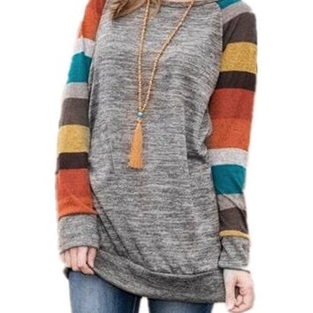 2017 Women Striped Patchwork Broadcloth T-shirt Long Sleeve O-Neck T Shirts Mutic-Color Loose Women's Top Plus Size Tee GV530