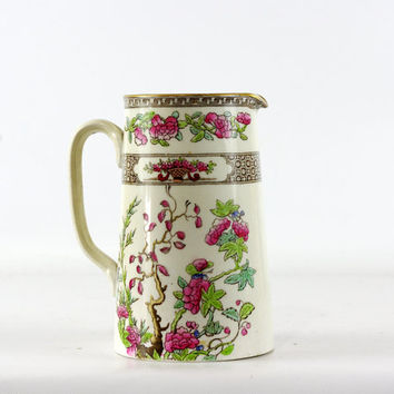 Antique Transferware Pitcher,India Tree, Spode Copeland China, 1890s, Polychrome, Victorian China