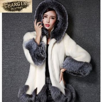 2017 New Women's Fashion Rabbit Fur Coat Hooded Artificial Fur Coat Girl's with White Black Imitation Fur Coat Plus Size S-4XL