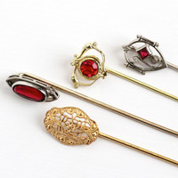 Antique Gold Filled , Silver Tone & Gold Tone Stick Pins - Vintage Early 1900s Edwardian Art Deco Red Stone Filigree Choose Variety Jewelry