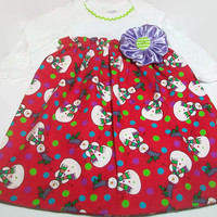 Baby Christmas Dress,  Baby Girl  Clothes, Snowman baby Clothes, Size 3-6 Month Christmas Dress. Baby Snowman, Peapodlilfrogs