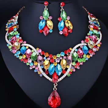 Moroccan Style Clear Crystal Rhinestones Necklace Earrings Women's Wedding Jewelry Set