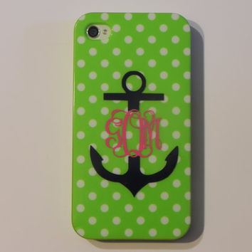 Cell Phone Anchor Monogram Vinyl Decal by CuttinCrazy on Etsy