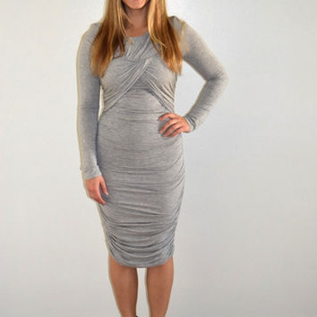 Gray Fitted Ruched Dress