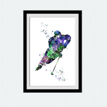 Hockey player watercolor print Hockey poster Hockey player colorful poster Sport wall decor Home decoration Christmas gift Wall art W396