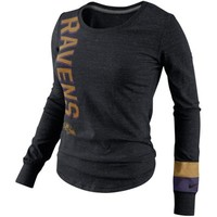 Nike Baltimore Ravens Go Long Ladies Long Sleeve T-Shirt - Charcoal