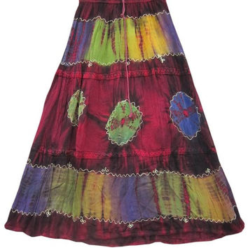 Women's Colorful Fashion Skirt- Tie Dye Rayon Hippi / Gypsy Long Skirts