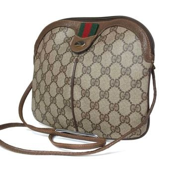 Auth GUCCI GG Pattern PVC Canvas Leather Brown Cross-Body Shoulder Bag GS1442