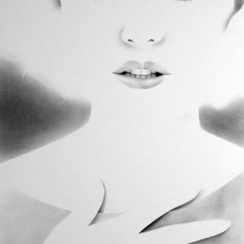 Marilyn Monroe Minimalism Original Pencil Drawing Fine Art Portrait Glamour Beauty