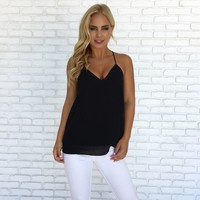 Jersey Shore Tank Blouse In Black