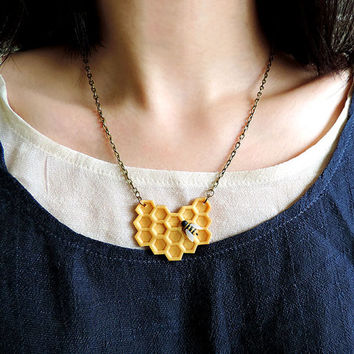 Geometric Bee and Honeycomb Necklace