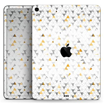 "Karamfila Yellow & Gray Floral V3 - Full Body Skin Decal for the Apple iPad Pro 12.9"", 11"", 10.5"", 9.7"", Air or Mini (All Models Available)"