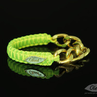 by (Oleel) Neon Yellow Cobra Silky Bracelet with Golden Chain
