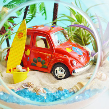 "Surfer VW Beach Terrarium ~  7"" Glass Globe ~ Palm Trees ~ VW Beetle Yellow or Red Car ~ 3 Air plants ~ Beach Decor ~ Great Gift Idea"