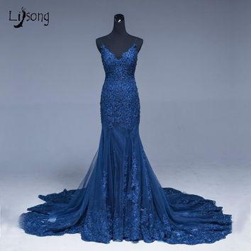 Saudi Arabic Mermaid Lace Evening Dresses Navy Blue Long Prom Gowns Abiye Sexy Formal Evening Gowns Crystal Abendkleider