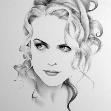 Nicole Kidman Minimalism Pencil Drawing Fine Art Portrait Print Hand Signed