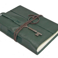 Green Leather Journal with Skeleton Key Bookmark