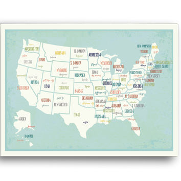 USA Capital Map Poster - Educational, Travel, Wall Decor