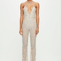Missguided - Peace + Love Nude Strappy Embellished Wide Leg Jumpsuit