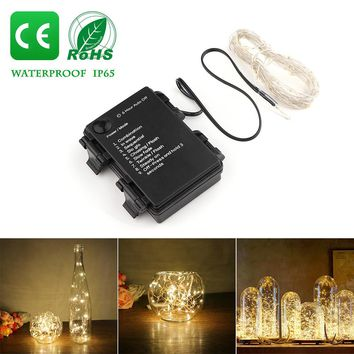 5m/16.4ft Warm White 50-LED Copper Wire String Light 8 Modes Battery Operated Auto Timing Function for Glass Craft Bottle Fairy Valentines Wedding Lamp Party Xmas