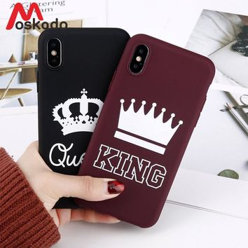 Moskado King Queen Crown Phone Case For iphone XR XS Max X 8 7 6 6s Plus Case Fashion Stylish Soft TPU Cover For iphone 5 5s SE