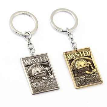 One Piece Luffy Wanted Poster Anime Key Chain