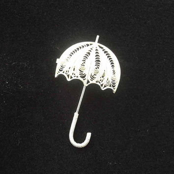 Sterling Silver Umbrella Brooch, Sterling (925) Filigree Umbrella Brooch, Vintage Silver Umbrella Pin